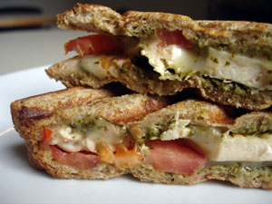 Cilantro Chicken Panini With Tomato and Provolone