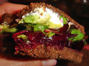 Roasted Beet, Avocado, and Goat Cheese Sandwich