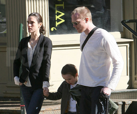 Photo of Jennifer Connelly and Paul Bettany and Their Son Stellan in NYC