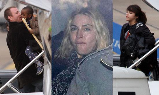 Photos of Madonna, Guy Ritchie, David Banda, Lourdes Leon at Heathrow, Guy Praises Madonna as a Mother