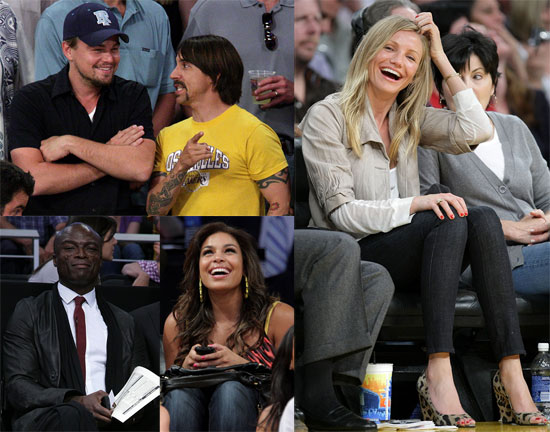 Photos of Cameron Diaz, Leonardo DiCaprio, Seal, Jordin Sparks at Lakers Rockets Game in LA