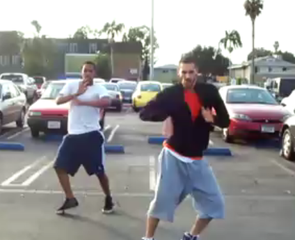 Two Guys Dance to Britney Spears's Circus in a Parking Lot