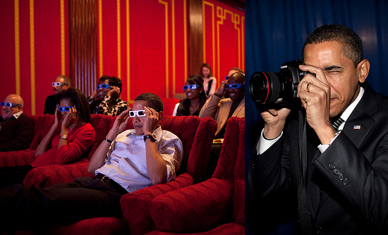 Photos of Barack Obama Shooting an SLR Camera and Family Wearing 3D Glasses