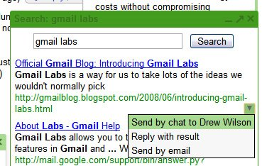 Gmail Labs Adds Google Search