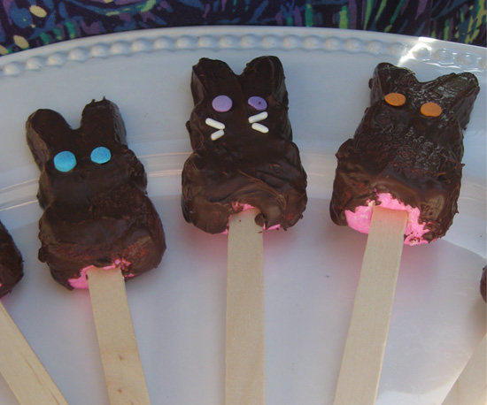 Chocolate-Covered Peeps on Sticks