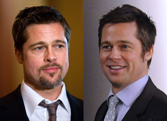 photos of brad pitt clean shaven filming japanese softback commercial in new york city. Black Bedroom Furniture Sets. Home Design Ideas