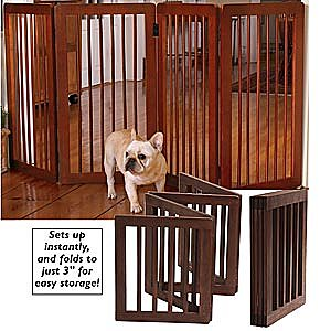 Folding Wood Pet Gate 36 H - Dog Beds Dog Harnesses & Collars Dog Clothes & Gifts for Dog Lovers | In The Company of Dogs