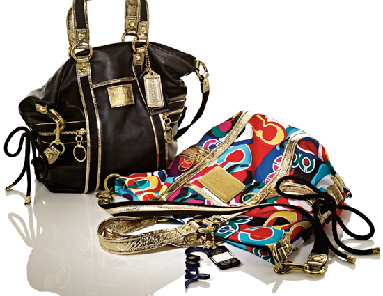 Coach Patent Shoulder Bag ($298)  Patent leather with grosgrain and patent leather trim  Coach Pop C Spotlight Shoulder Bag ($268)   Pop C Art graphic fabric with metallic leather trim  Side cinch details