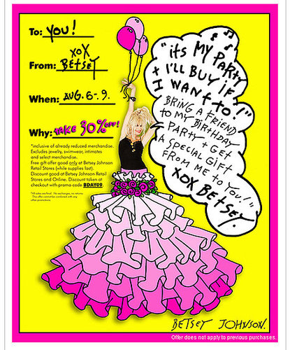It's Betsey Johnson's Birthday - Take 30% Off Starting Tomorrow!