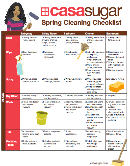 Downloadable spring cleaning and organizing checklist for House cleaning and organizing