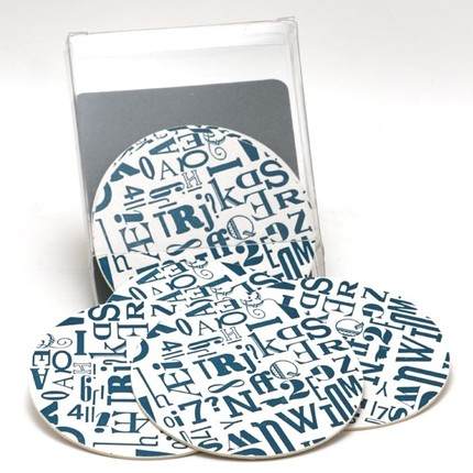 Type Collage Coasters, $12
