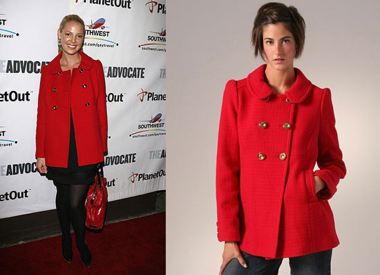 Found! Katherine Heigl's Red Pea Coat