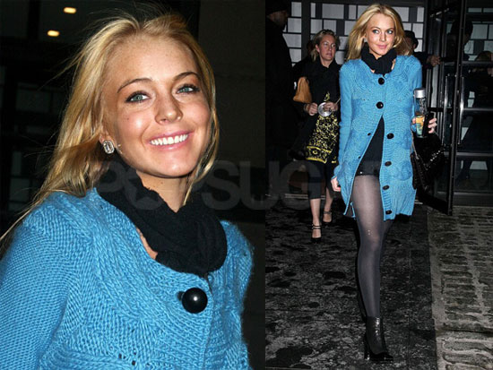 Lindsay Keeps Warm in Blue, Still Hates Pants