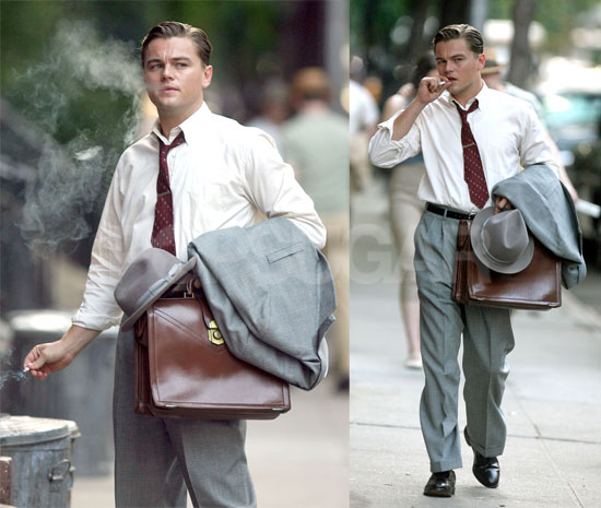 Leo is Smokin' On The Set of Revolutionary Road