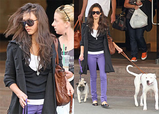 Alba's Got Her Two Boys On Short Leashes