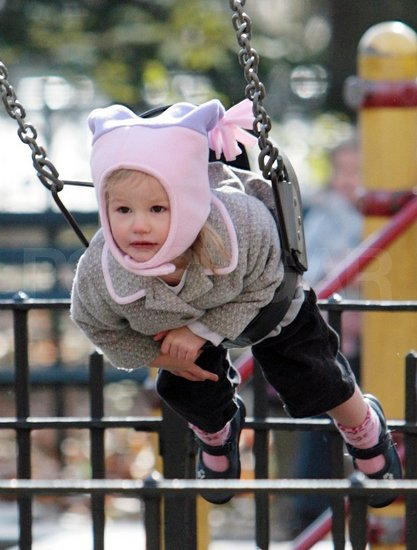 Violet Affleck on the swings in Central Park