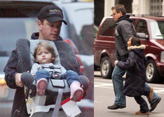 Matt Damon and His Girls on the Go