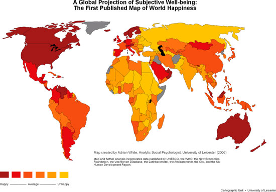 Is Your Country Happy? The World Map of Happiness