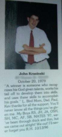John Krasinski's High School Yearbook Senior Photo