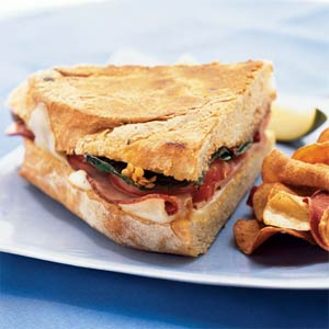 Fast & Easy Dinner: Mozzarella, Ham, and Basil Panini
