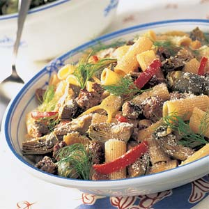 Fast & Easy Dinner: Baby Artichokes and Sausage Rigatoni