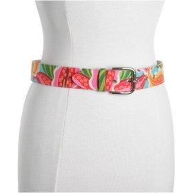 TROPICAL PRINT: Sandy Duftler tropical print fabric belt
