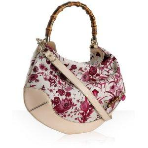TROPICAL PRINT: Gucci fuchsia floral canvas 'Peggy' large hobo