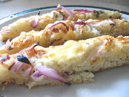 red onion-fontina sake focaccia
