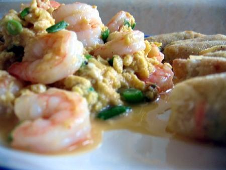 scrambled eggs and shrimp