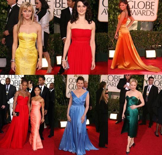 The Golden Globes Red Carpet: Vivid Hues
