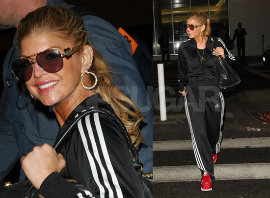 Fergie Arrives at LAX, Early 90s Rap Video Set