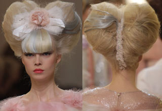... The Runway Wearing These Massive Heart Shaped Updos Covered In  Victorian Bric A Brac That Made Them Look Like Old Fashioned Valentineu0027s  Day Cards.