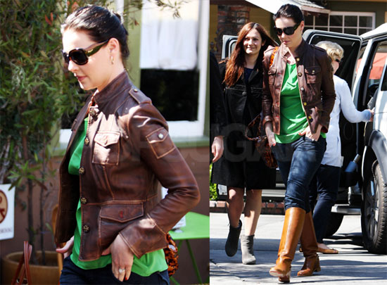 Photos of Katherine Heigl Wearing a Brown Leather Jacket and With ...