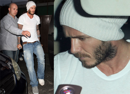 Photos of David Beckham at Steakhouse in Los Angeles in Crutches in a Beanie  Hat 514ba9038a1