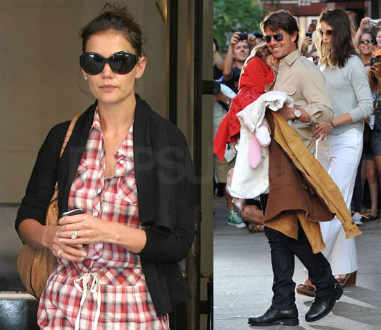 Pictures of Katie Holmes Wearing Juicy Couture Plaid Shirtdress in New York a040191071b6