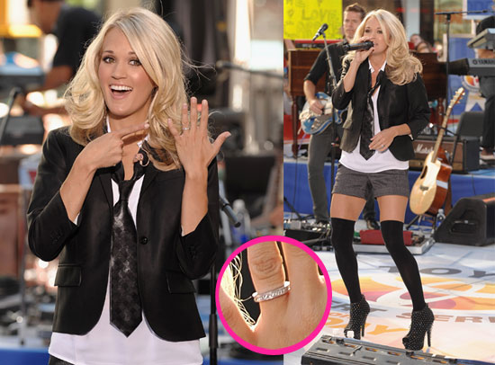 Pictures of Carrie Underwood Flashing Her Engagement Ring ...