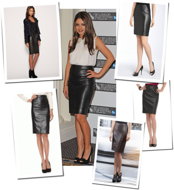 Pictures of Mila Kunis in Leather Pencil Skirt | POPSUGAR Fashion