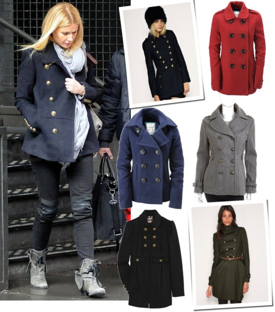 Gwyneth Paltrow in a Navy Blue Burberry Military Coat | POPSUGAR ...