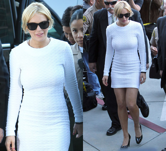 Photos of Lindsay Lohan in Little White Dress in Court in Los ...