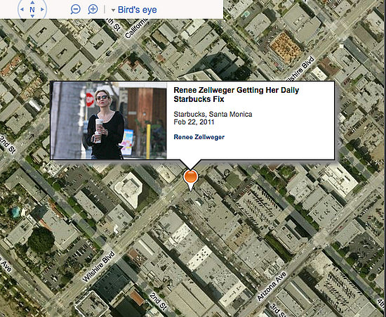 zimbio an online entertainment magazine uses geotagged information from thousands of celeb photos to pinpoint on bing maps the microsoft search engines