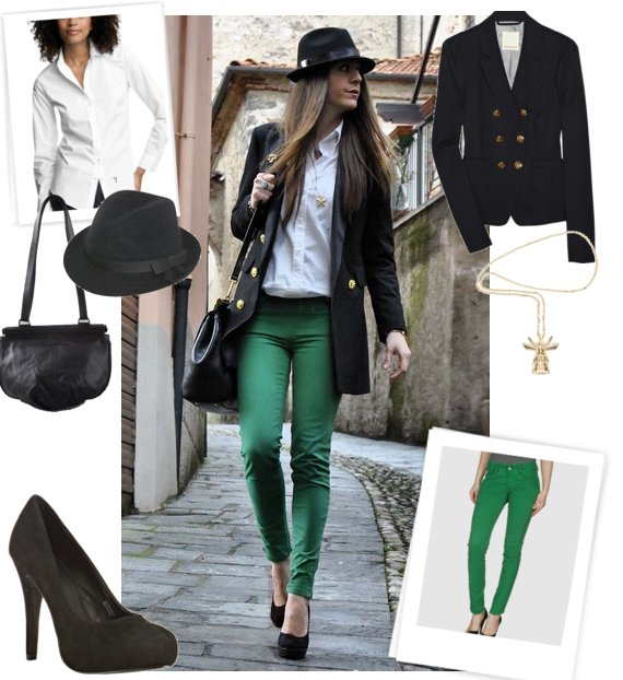 fashion green pants - Pi Pants