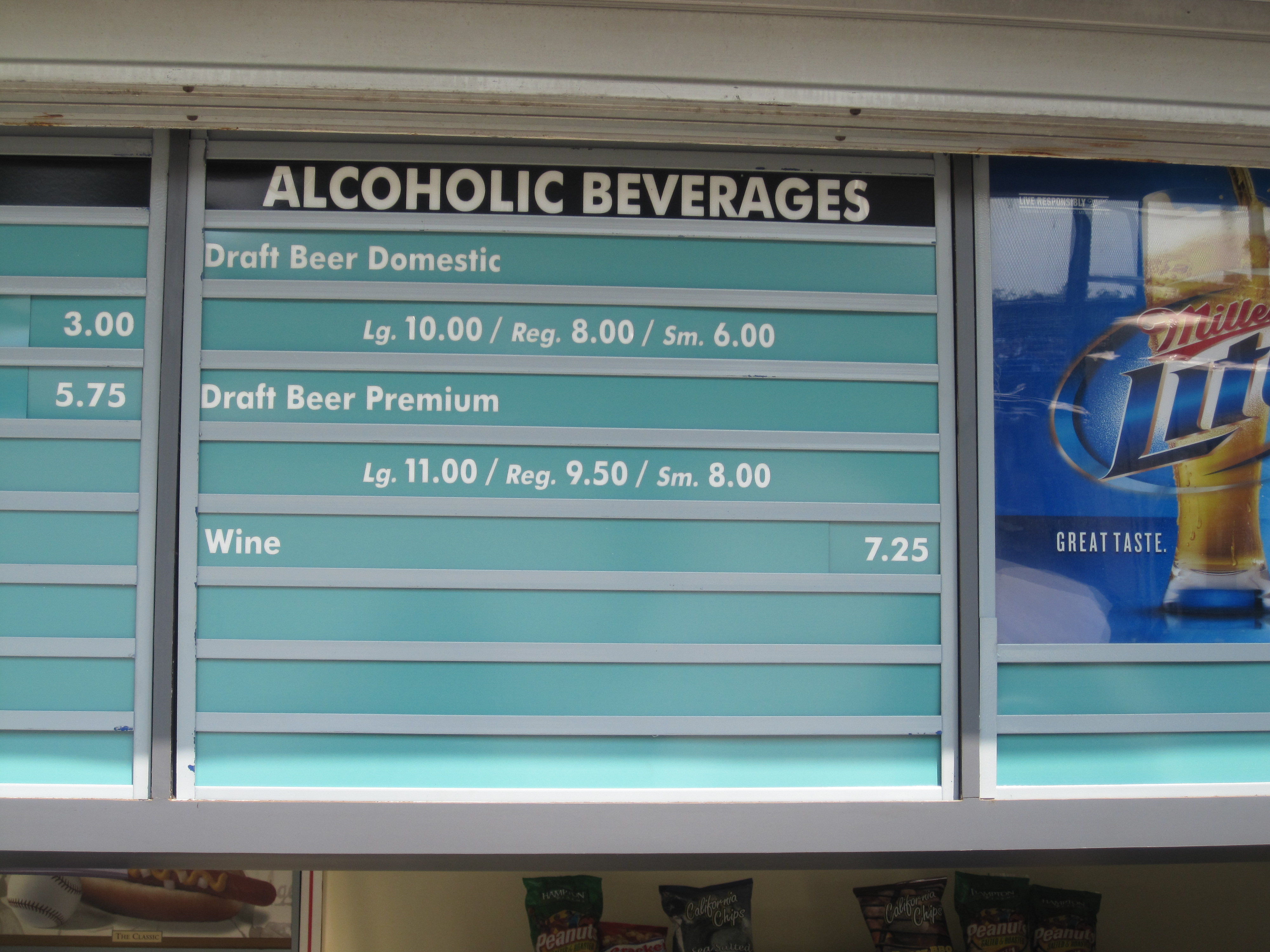 The sign that is on every concession stand at Dodger Stadium.
