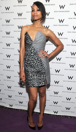 0a56796cdb5 Zoe Saldana Wears Salvatore Ferragamo Dress to San Francisco ...