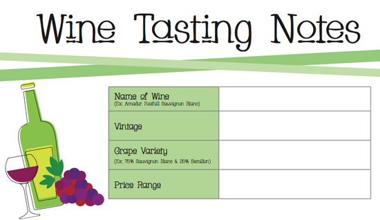 Printable wine tasting notes popsugar food for Wine tasting sheet template
