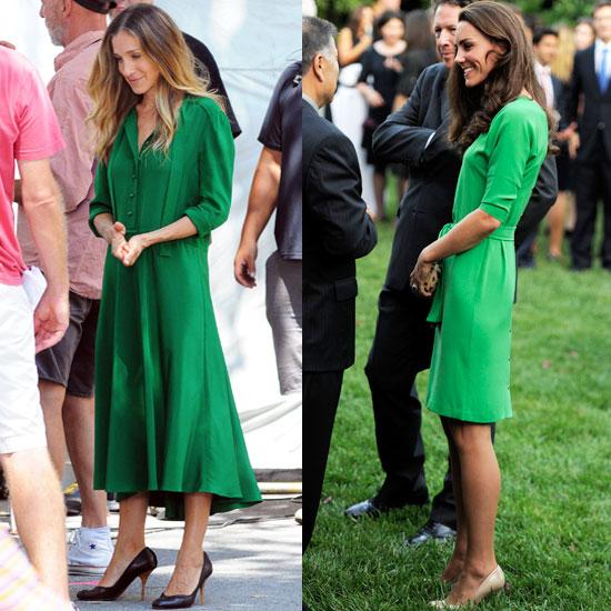Sarah Jessica Parker et Duchess of Cambridge en une robe verte