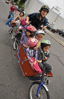 (PHOTO) Mom Trades Car for a Bike Built for Seven