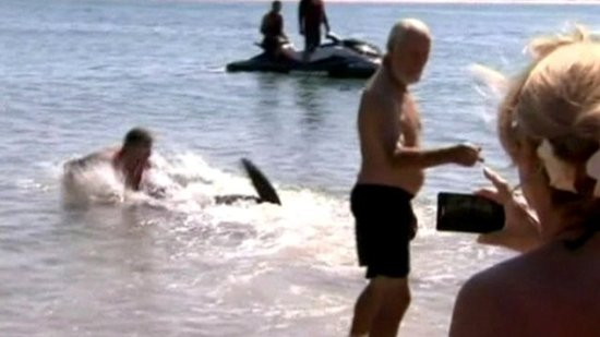 Dad Wrestles with Shark to Save Children (PHOTO)