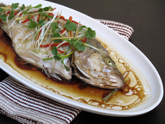 Chinese steamed fish recipe popsugar food i enjoy trout or sea bass and the cooking method she makes hers in the microwave while i use the oven but fish is an absolute must at the table forumfinder Gallery