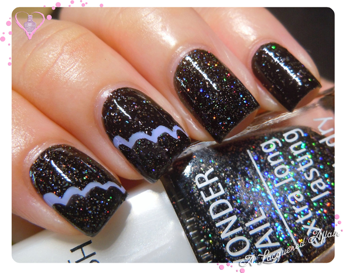 IsaDora Black Galaxy with Bella Vita Scalloped Mani