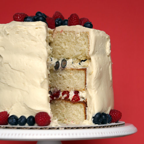 White Cake With Blueberries and Raspberries